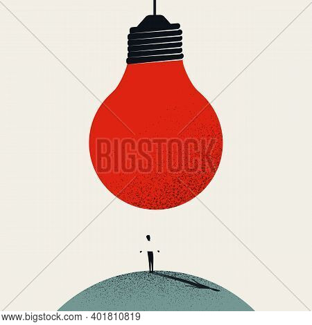Great New Idea, Innovation, Heureka, Breakthrough Moment Vector Concept. Big Lightbulb Over Business