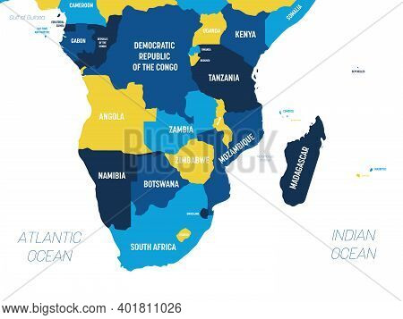 Southern Africa Map - Brown Orange Hue Colored On Dark Background. High Detailed Political Map Of So
