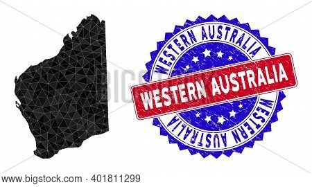 Western Australia Map Polygonal Mesh With Filled Triangles, And Scratched Bicolor Stamp Seal. Triang
