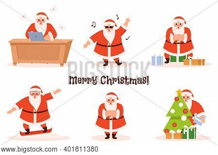 Set Of Funny Cartoon Santa Clauses. Santa Claus Decorates The Christmas Tree And Gives Gifts. Set Of