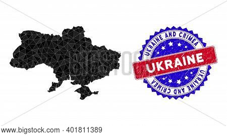Ukraine Map With Crimea Polygonal Mesh With Filled Triangles, And Scratched Bicolor Stamp. Triangle