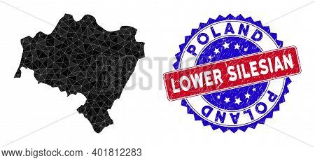 Lower Silesian Voivodeship Map Polygonal Mesh With Filled Triangles, And Textured Bicolor Rubber Sea