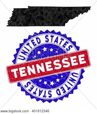 Tennessee State Map Polygonal Mesh With Filled Triangles, And Grunge Bicolor Rubber Seal. Triangle M