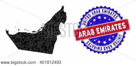 Arab Emirates Map Polygonal Mesh With Filled Triangles, And Textured Bicolor Stamp Print. Triangle M