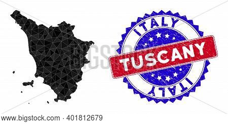 Tuscany Region Map Polygonal Mesh With Filled Triangles, And Scratched Bicolor Stamp Print. Triangle