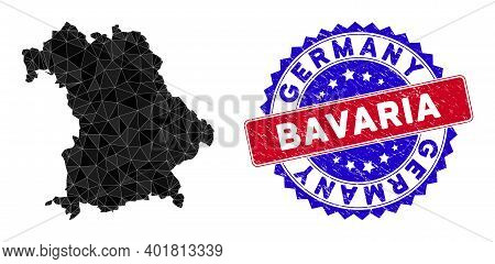 Bavaria Land Map Polygonal Mesh With Filled Triangles, And Distress Bicolor Stamp Imitation. Triangl