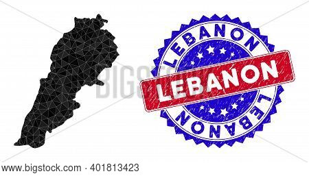 Lebanon Map Polygonal Mesh With Filled Triangles, And Rubber Bicolor Rubber Seal. Triangle Mosaic Le
