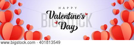 Happy Valentines Day Banner. Valentine Holiday Background Design With Frame Made Of Red Origami Pape