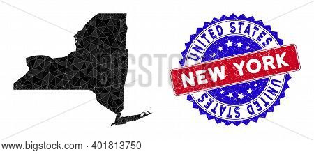 New York State Map Polygonal Mesh With Filled Triangles, And Textured Bicolor Stamp Seal. Triangle M