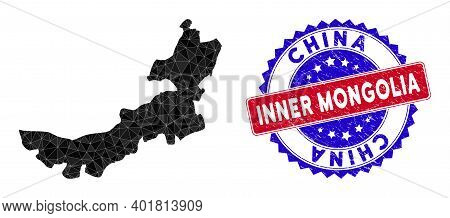 Inner Mongolia Map Polygonal Mesh With Filled Triangles, And Rubber Bicolor Rubber Seal. Triangle Mo