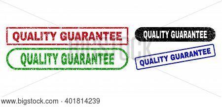 Quality Guarantee Grunge Seal Stamps. Flat Vector Grunge Stamps With Quality Guarantee Title Inside