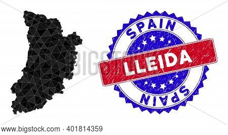 Lleida Province Map Polygonal Mesh With Filled Triangles, And Scratched Bicolor Watermark. Triangle