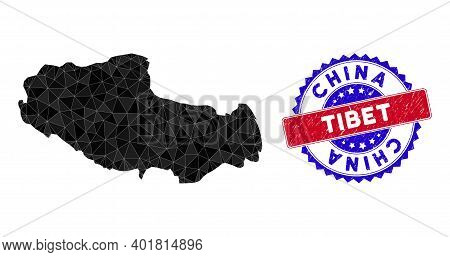 Tibet Chinese Territory Map Polygonal Mesh With Filled Triangles, And Grunge Bicolor Stamp. Triangle