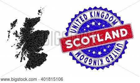 Scotland Map Polygonal Mesh With Filled Triangles, And Rough Bicolor Watermark. Triangle Mosaic Scot