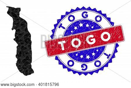 Togo Map Polygonal Mesh With Filled Triangles, And Grunge Bicolor Stamp Seal. Triangle Mosaic Togo M