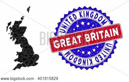 Great Britain Map Polygonal Mesh With Filled Triangles, And Grunge Bicolor Stamp Seal. Triangle Mosa