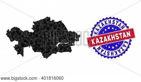 Kazakhstan Map Polygonal Mesh With Filled Triangles, And Unclean Bicolor Stamp Seal. Triangle Mosaic