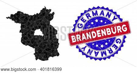 Brandenburg Land Map Polygonal Mesh With Filled Triangles, And Distress Bicolor Rubber Seal. Triangl