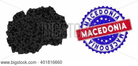 Macedonia Map Polygonal Mesh With Filled Triangles, And Rough Bicolor Stamp Seal. Triangle Mosaic Ma