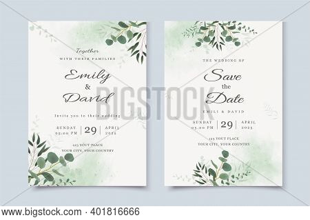 Wedding Invitation Template With Eucalyptus Leaves And Watercolor Background Vector Illustration
