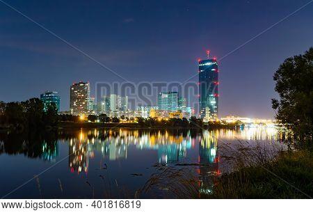 Night View At Cityscape In Vienna Austria. View From Danube Island At Donau City, Vienna Dc, Viennas