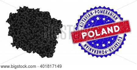 Kuyavian-pomeranian Voivodeship Map Polygonal Mesh With Filled Triangles, And Textured Bicolor Stamp