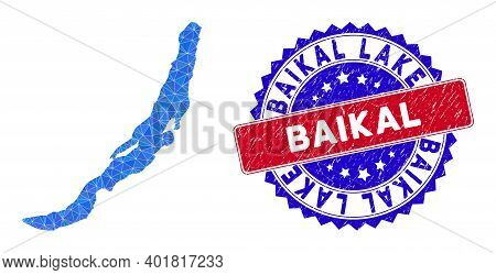 Baikal Lake Map Polygonal Mesh With Filled Triangles, And Distress Bicolor Stamp Seal. Triangle Mosa