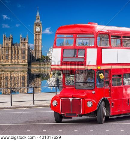 Big Ben With Old Red Double Decker Bus In London, England, Uk