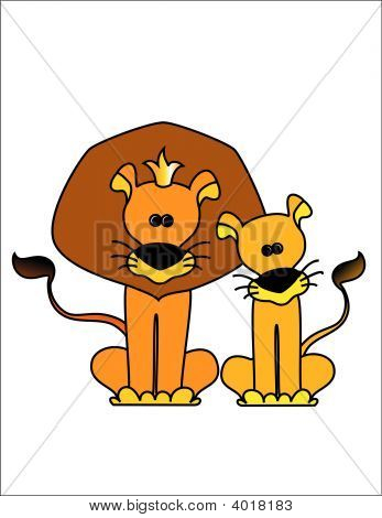 The king a lion with a lioness on a white background poster