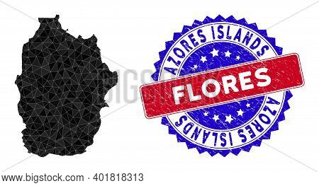 Flores Island Of Azores Map Polygonal Mesh With Filled Triangles, And Rubber Bicolor Rubber Seal. Tr
