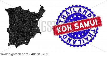 Koh Samui Map Polygonal Mesh With Filled Triangles, And Scratched Bicolor Stamp. Triangle Mosaic Koh