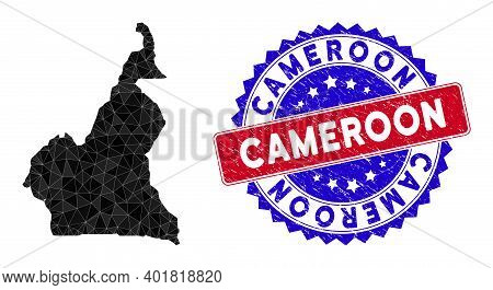 Cameroon Map Polygonal Mesh With Filled Triangles, And Unclean Bicolor Stamp Seal. Triangle Mosaic C