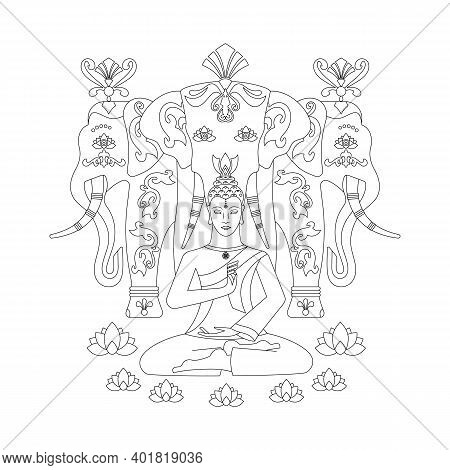 Meditating Buddha, With A Medallion In The Form Of A Wheel Of Samsara, Hands Show The Gesture Of Mud