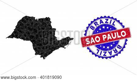 Sao Paulo State Map Polygonal Mesh With Filled Triangles, And Unclean Bicolor Watermark. Triangle Mo