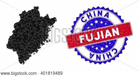 Fujian Province Map Polygonal Mesh With Filled Triangles, And Unclean Bicolor Stamp. Triangle Mosaic