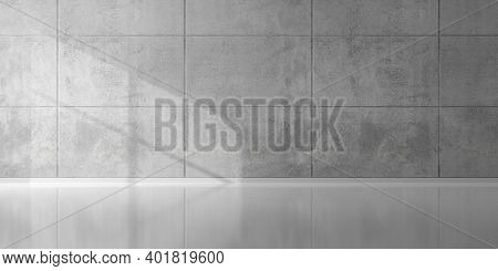 Abstract Empty, Modern Concrete Room With Indirect Lighting From Top, Plated Back Wall, Sun Window S