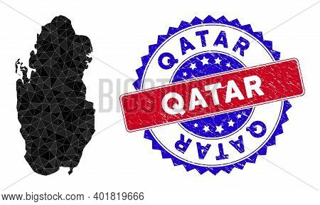 Qatar Map Polygonal Mesh With Filled Triangles, And Unclean Bicolor Stamp. Triangle Mosaic Qatar Map