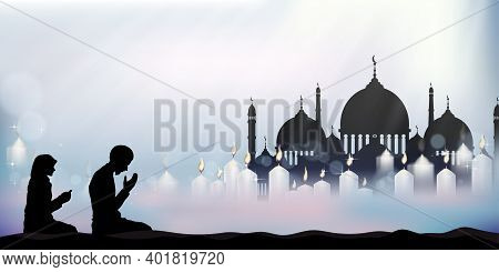 Eid Mubarak Card With Mosque Silhouette With Candle Light,muslim Man And Woman Making A Supplication