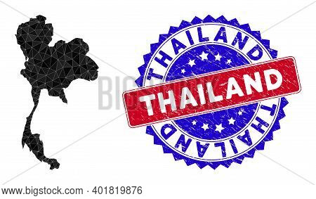 Thailand Map Polygonal Mesh With Filled Triangles, And Unclean Bicolor Rubber Seal. Triangle Mosaic