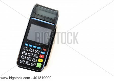 Credit Card Reader Isolated On White Background. Pos Terminal On A White Background. Banking Equipme