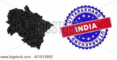 Uttarakhand State Map Polygonal Mesh With Filled Triangles, And Textured Bicolor Seal. Triangle Mosa