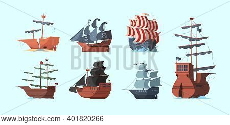 Pirate Boat. Old Marine Vessels Pirate Damaged Ships With Black Flag Vector Set. Antique Transport S