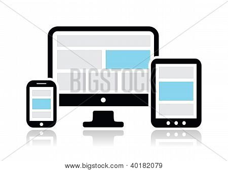 Responsive Design für Web-Computerbildschirm, Smartphone, Tablet Icons set