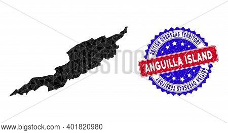 Anguilla Island Map Polygonal Mesh With Filled Triangles, And Scratched Bicolor Stamp Seal. Triangle