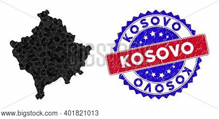 Kosovo Map Polygonal Mesh With Filled Triangles, And Rough Bicolor Stamp Print. Triangle Mosaic Koso