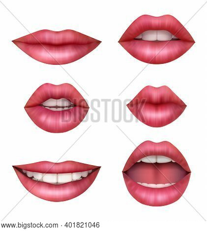 Woman Realistic Mouth. Beauty Sexy Lips Happy Girls Vector Anatomic Pictures Collection. Sexy Female
