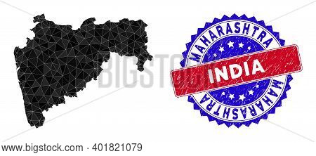 Maharashtra State Map Polygonal Mesh With Filled Triangles, And Scratched Bicolor Stamp Print. Trian