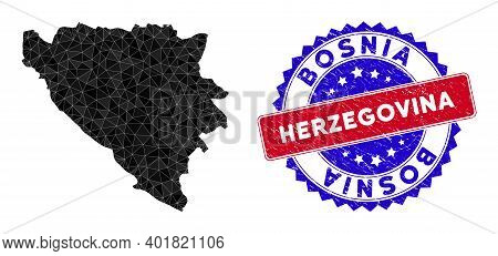 Bosnia And Herzegovina Map Polygonal Mesh With Filled Triangles, And Distress Bicolor Seal. Triangle