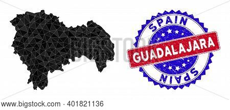 Guadalajara Province Map Polygonal Mesh With Filled Triangles, And Unclean Bicolor Stamp Print. Tria