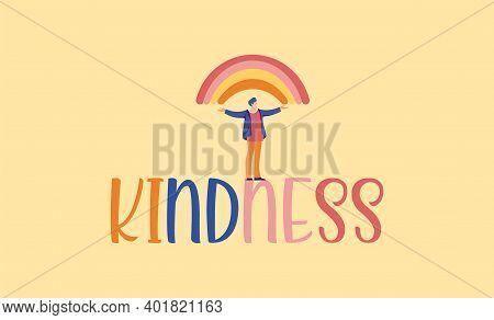 Kindness Illustration. Character Of Rainbow Mutual Help